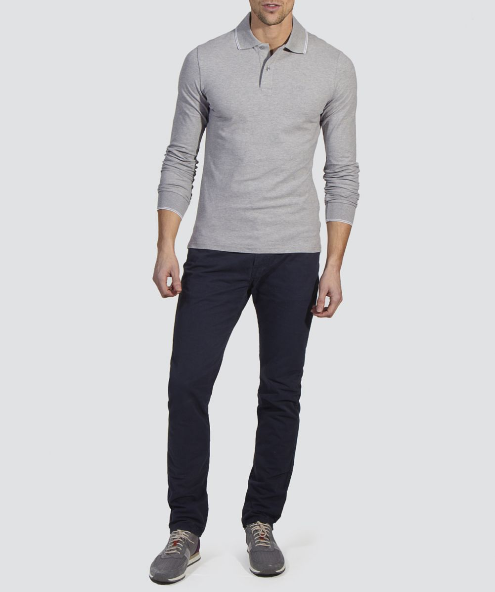 Armani jeans slim fit long sleeve polo shirt available at for Polo shirt and jeans
