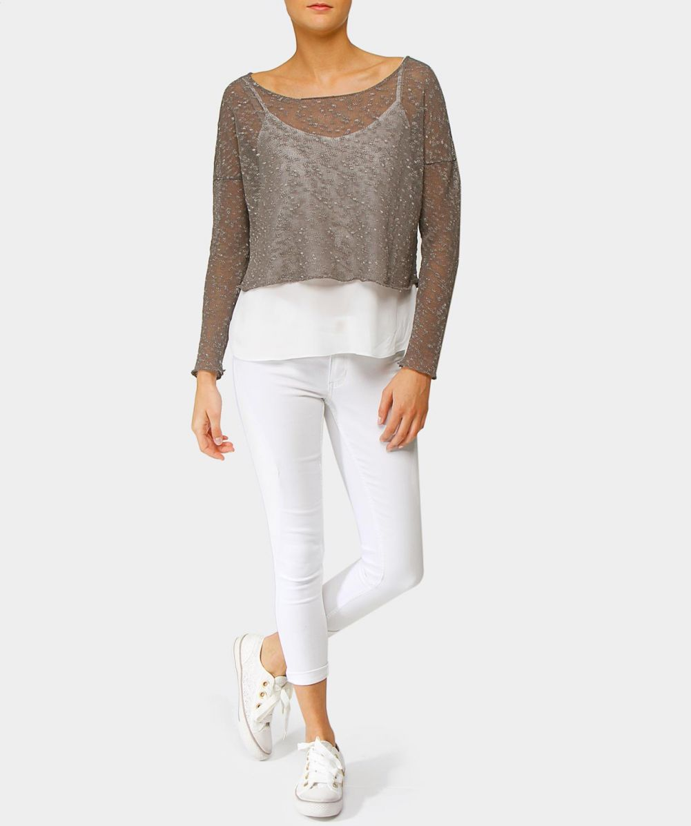 crea concept slub knit cropped sweater available at jules b. Black Bedroom Furniture Sets. Home Design Ideas