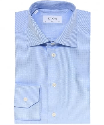 Slim Fit Textured Twill Striped Shirt