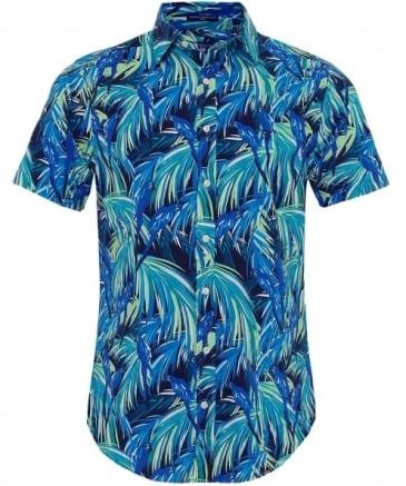 Regular Fit Short Sleeve Parrot Print Shirt