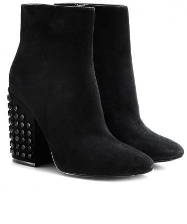Suede Studded Heel Ankle Boots