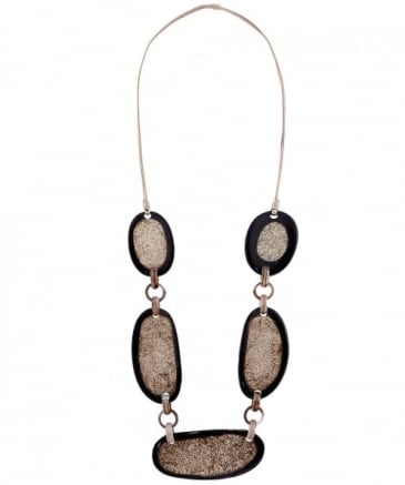 Textured Stone Station Necklace