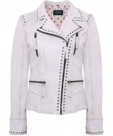 Washed Leather Camera Biker Jacket