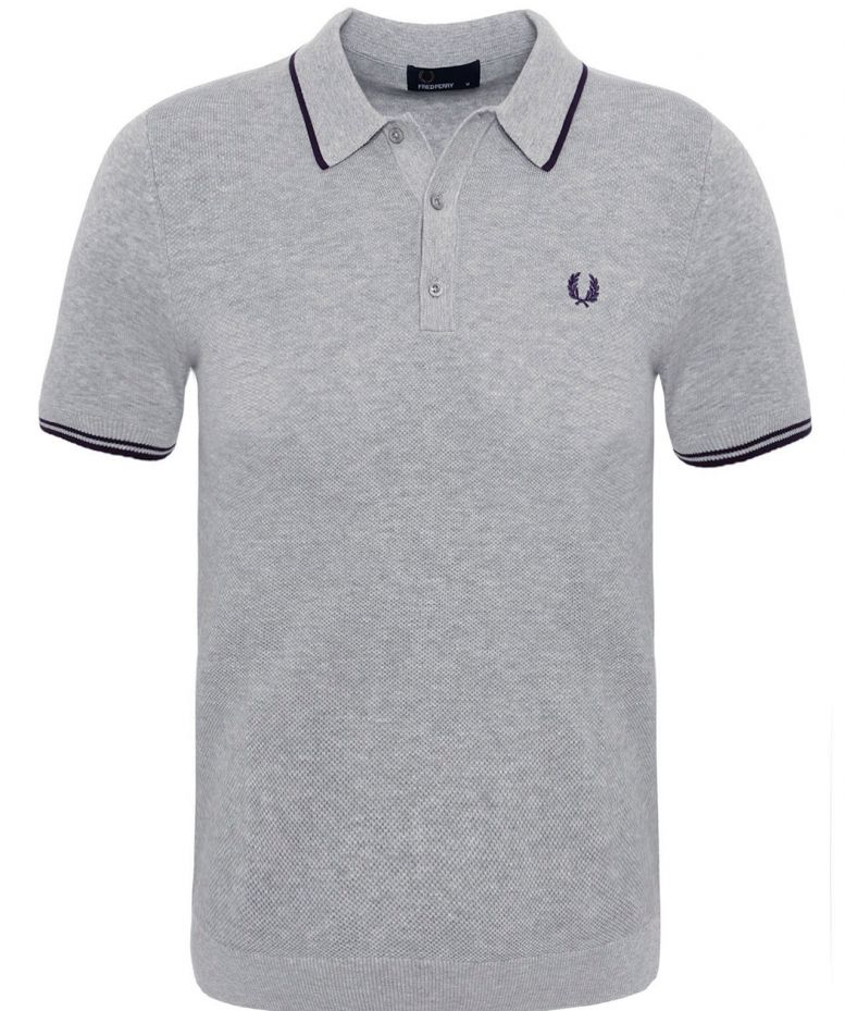 886ca8d3 Fred Perry Grey Tipped Knit Polo Shirt available at Jules B