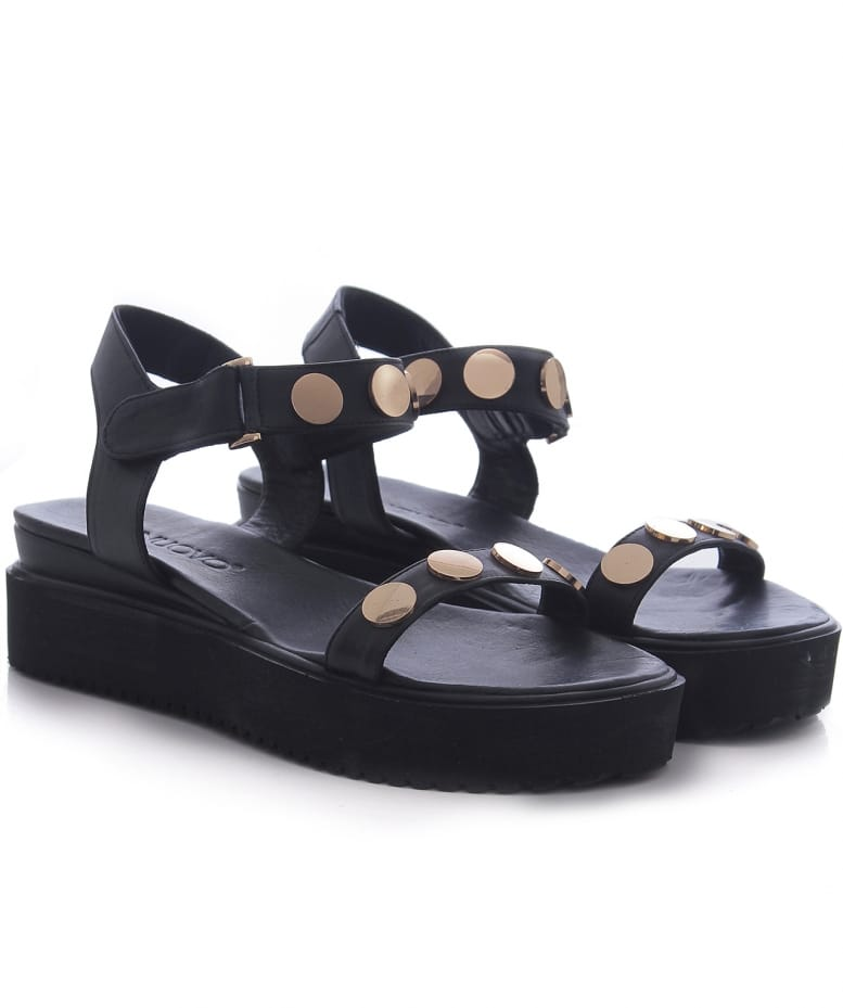 929458a7a181 Inuovo Black Studded Strap Sandals