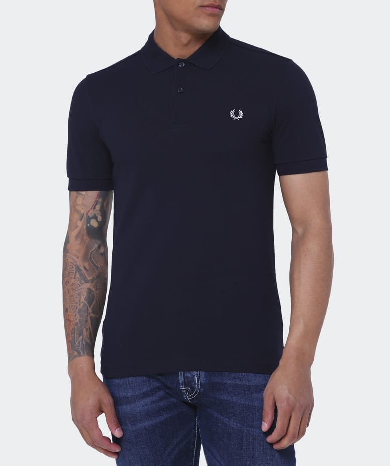 Fred Perry Navy Slim Fit Plain Polo Shirt