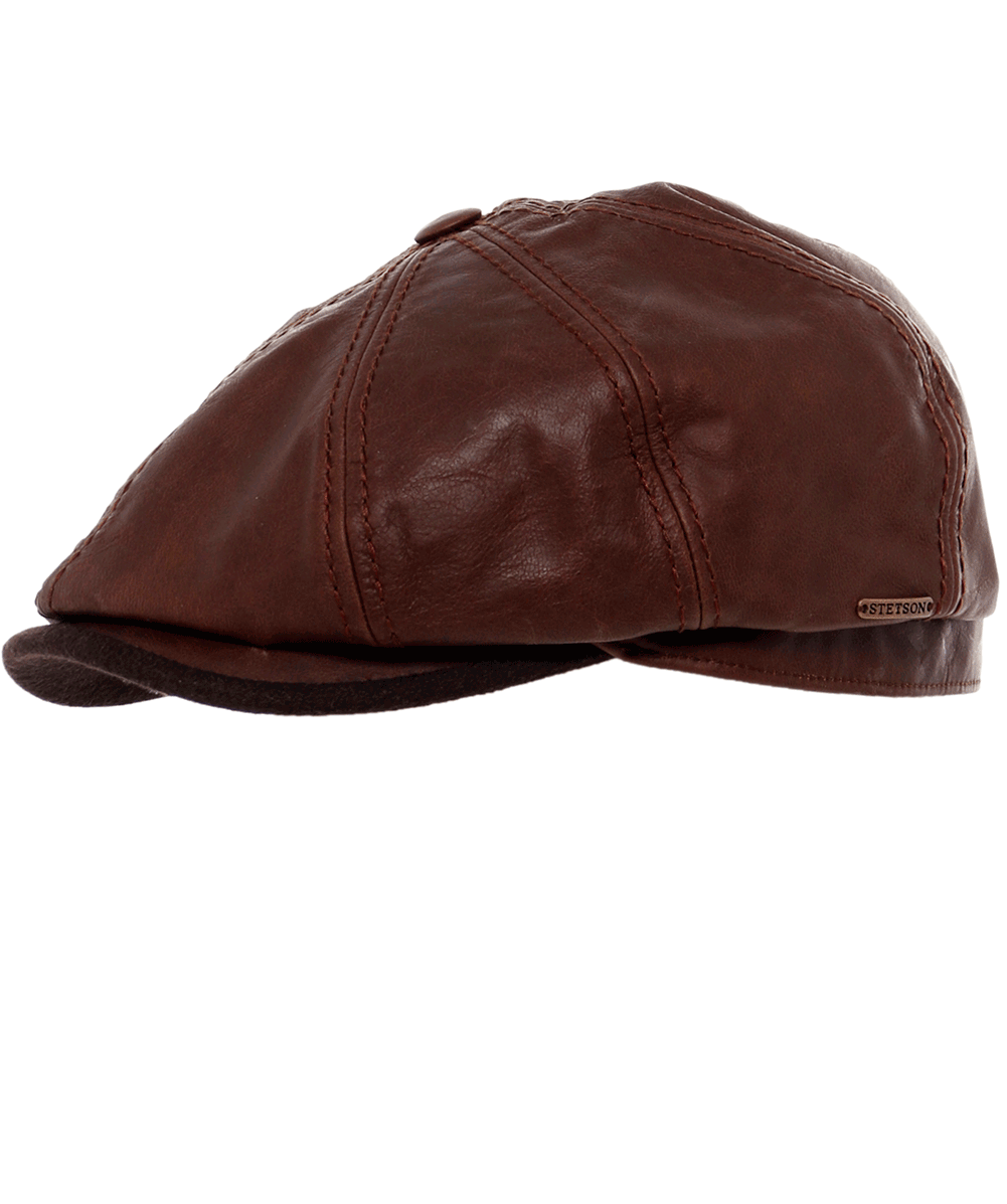 ed4caa30ae8 Stetson Brown Leather Hatteras Cap