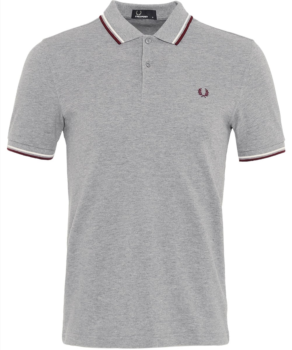 2f6dbd317 Fred Perry Steel Grey Twin Tipped Polo Shirt M3600 E24 | Jules B