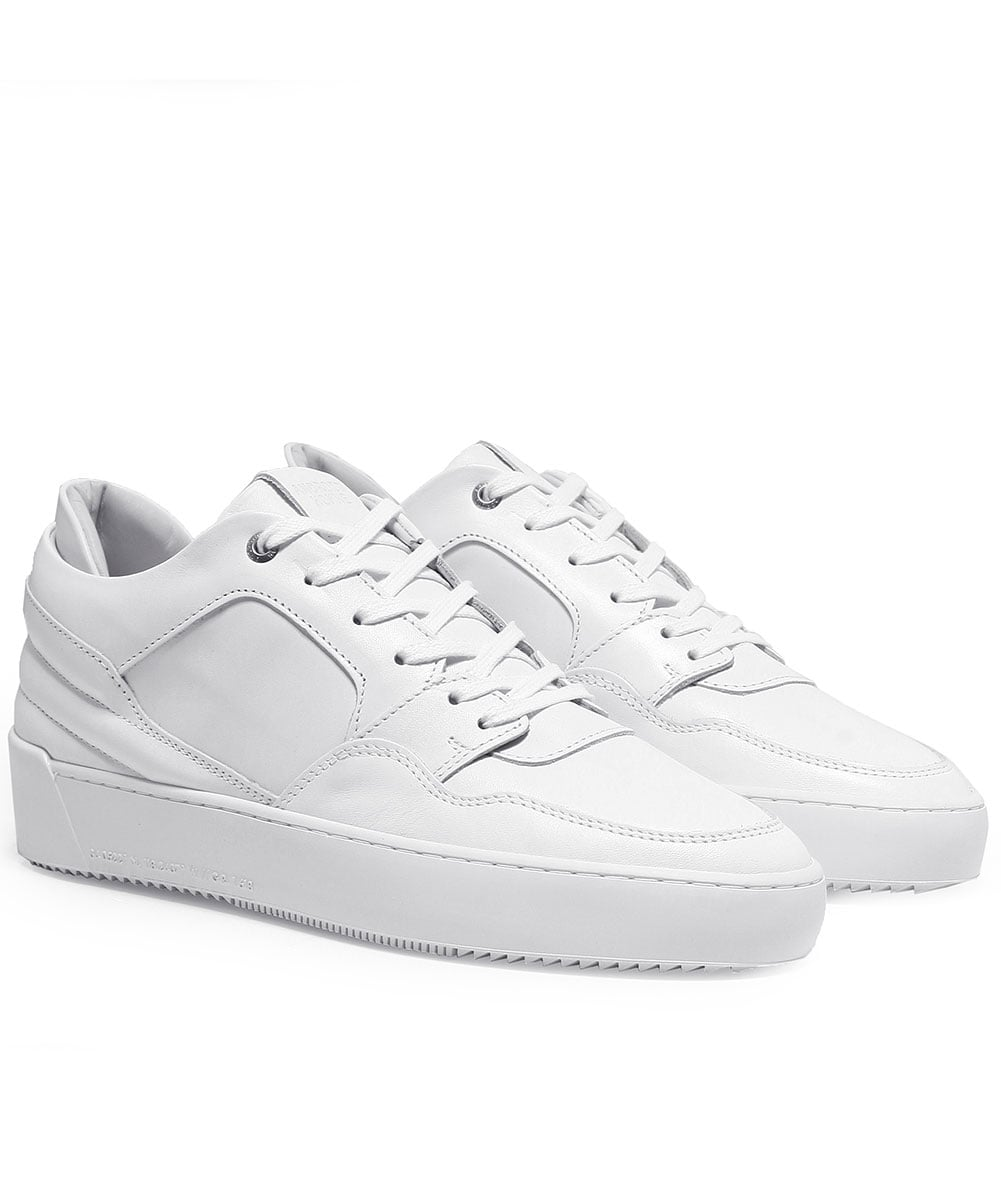 7d4586cf28df Android Homme White Leather Omega Trainers