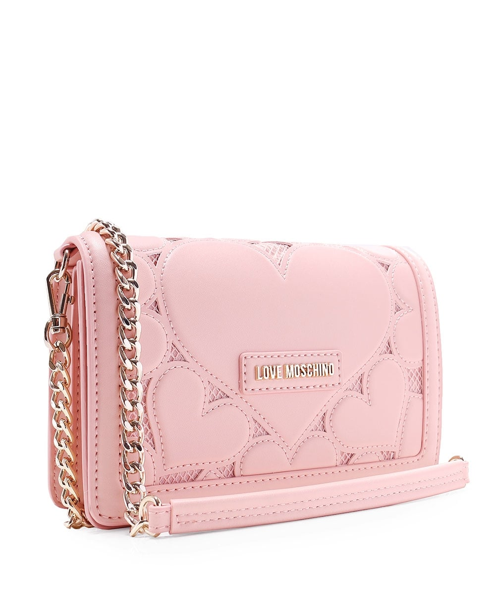 7212f1b020 Love Moschino Pink Leather Fold Over Clutch Bag | Jules B