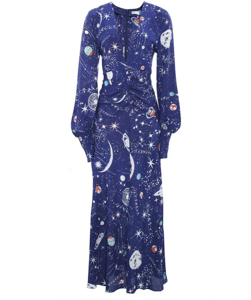 a2b3bf66fb83 RIXO Cosmic Constellation Navy Silk Maressa V-Neck Dress