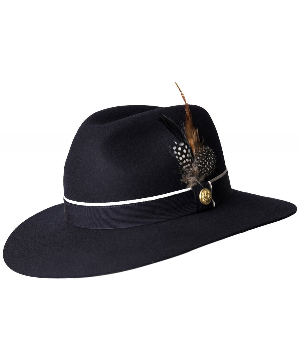 25420aea Holland Cooper Navy Grayson Trilby Hat with Feather Detail | Jules B