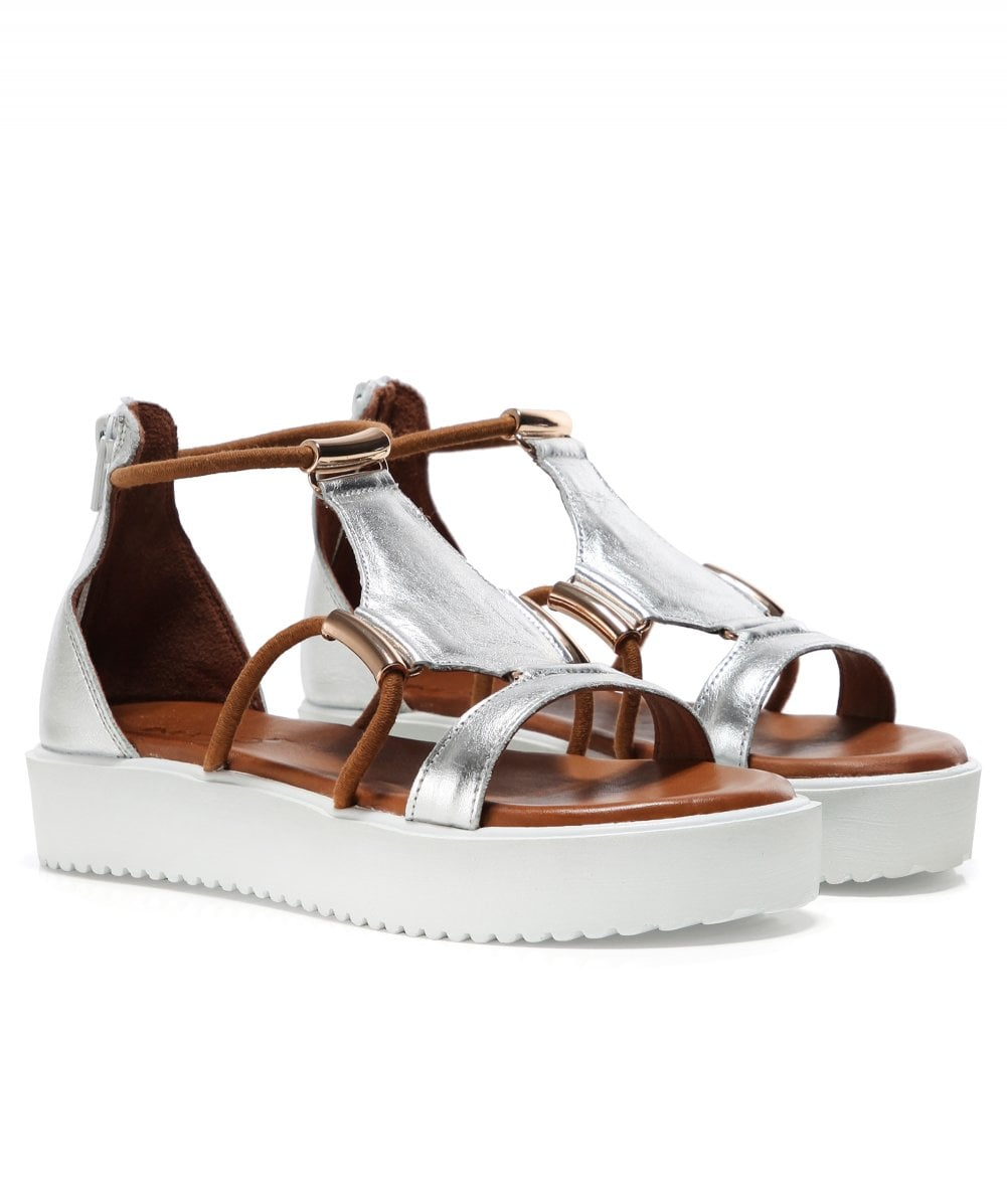 Inuovo Leather Gladiator Wedge Sandals