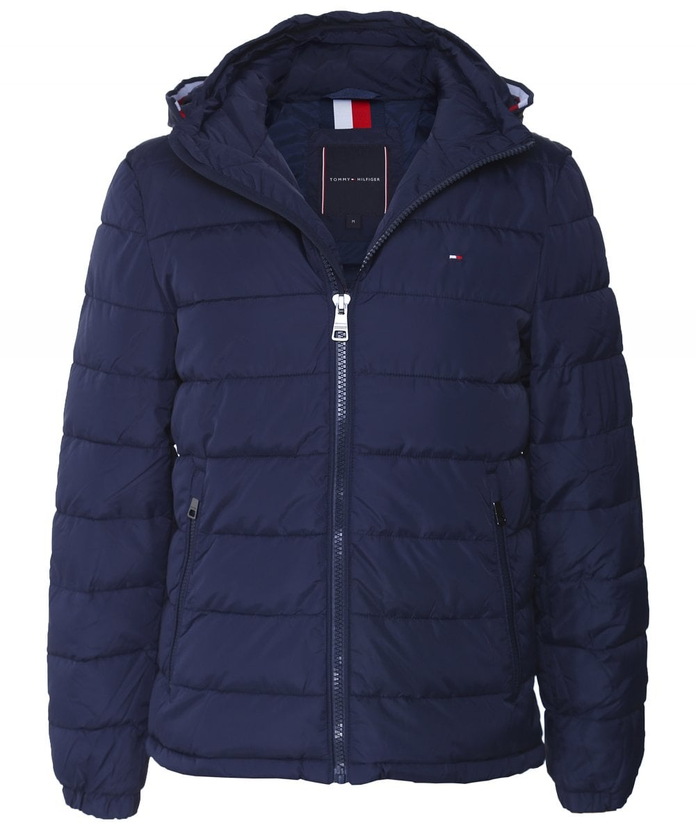 Tommy Hilfiger Navy Water-Repellent Hooded Quilted Jacket ...