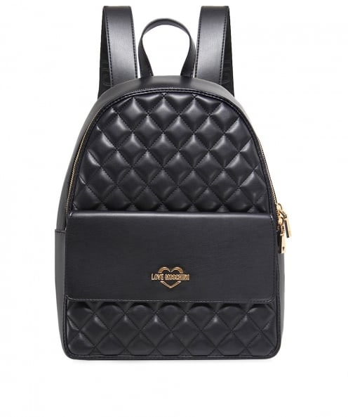 9662d57b8d Love Moschino Black Quilted Leather Backpack | Jules B