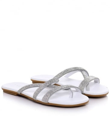 Diamante Slip On Sandals