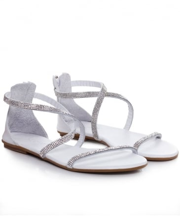 Diamante Cross Ankle Sandals
