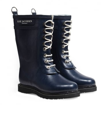Mid Length Lace-Up Wellington Boots