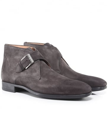 Suede Monk Strap Boots