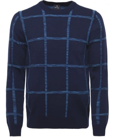 Wool Blend Textured Check Jumper