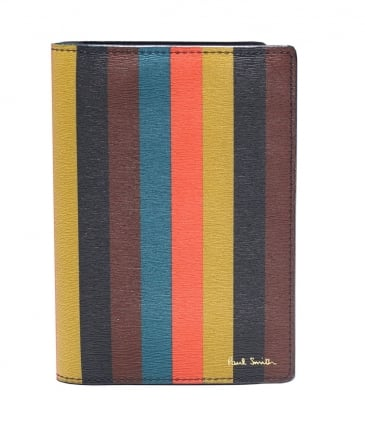 Leather Striped Passport Holder
