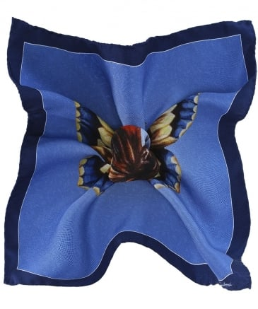 Silk Butterfly Print Pocket Square