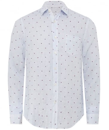 Regular Fit Linen Embroidered Shirt