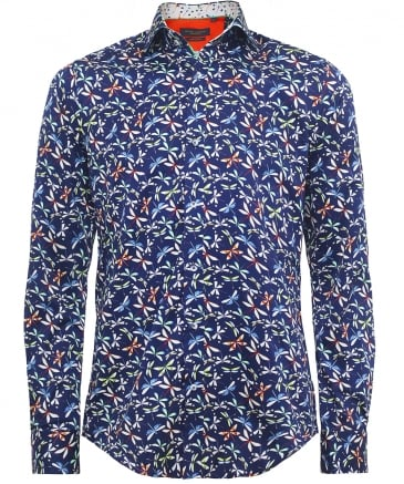 Slim Fit Dragonfly Print Shirt