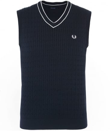 Cotton Cable Knit V-Neck Tank Top