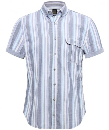 Slim Fit Short Sleeve Striped Elibre Shirt
