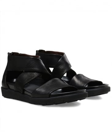 Leather Crossover Gasoline Sandals