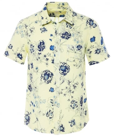 Regular Fit Short Sleeve Linen Floral Shirt