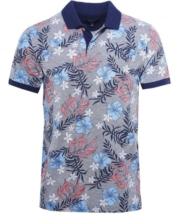 Pique Cotton Floral Polo Shirt