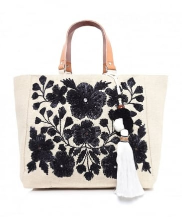 Embroidered Flori Tote Bag