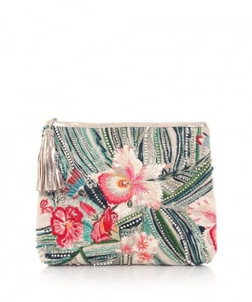 Embroidered Malu Flower Clutch Bag