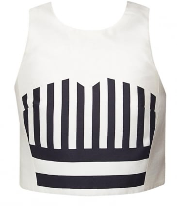 Striped Silk Crop Top