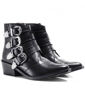 Leather Multi Buckle Boots