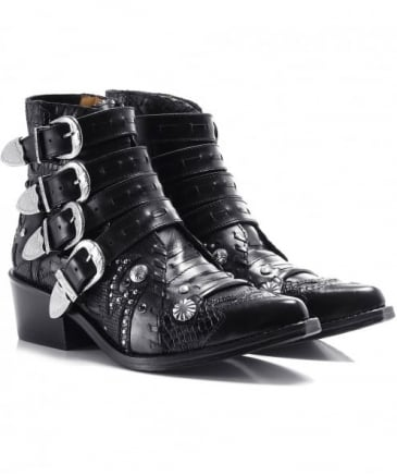 Leather Ornate Studded Buckle Boots