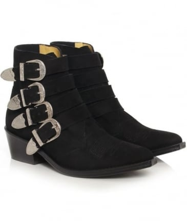 Suede Buckle Boots