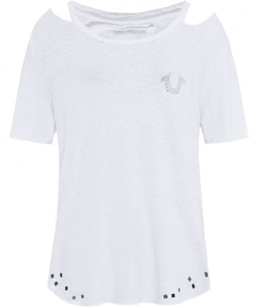 Cutout Shoulder Logo T-Shirt