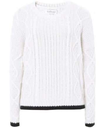 Joan Tipped Hem Cable Knit Jumper