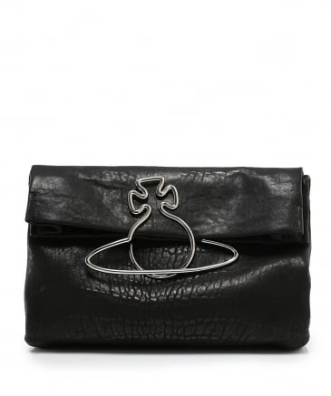 Leather Fold Over Oxford Clutch Bag